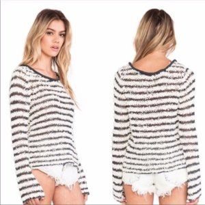 """FREE PEOPLE """"Downey"""" Striped Shaggy Pullover"""
